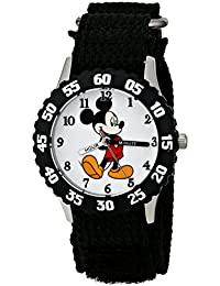 Kids' W001574 Mickey Mouse Stainless Steel, Black Nylon...