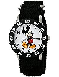 Kids' W001574 Mickey Mouse Stainless Steel, Black Nylon Strap, Analog Display, Black Watch