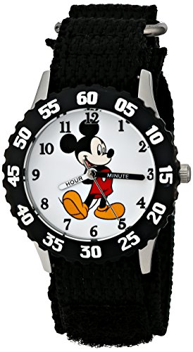 Disney Kids' W001574 Mickey Mouse Stainless Steel, Black Nylon Strap, Analog Display, Black Watch