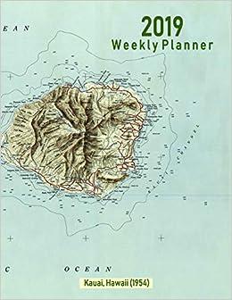 Amazon Com 2019 Weekly Planner Kauai Hawaii 1954 Vintage Topo