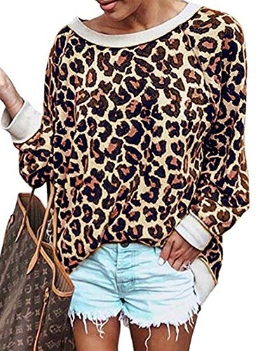 Womens Sweatshirts Hoodies Leopard Print Long Sleeve Pullover Tops Oversized Comfy Workout Shirt Blouses Tunic for Women (Coffee, L)
