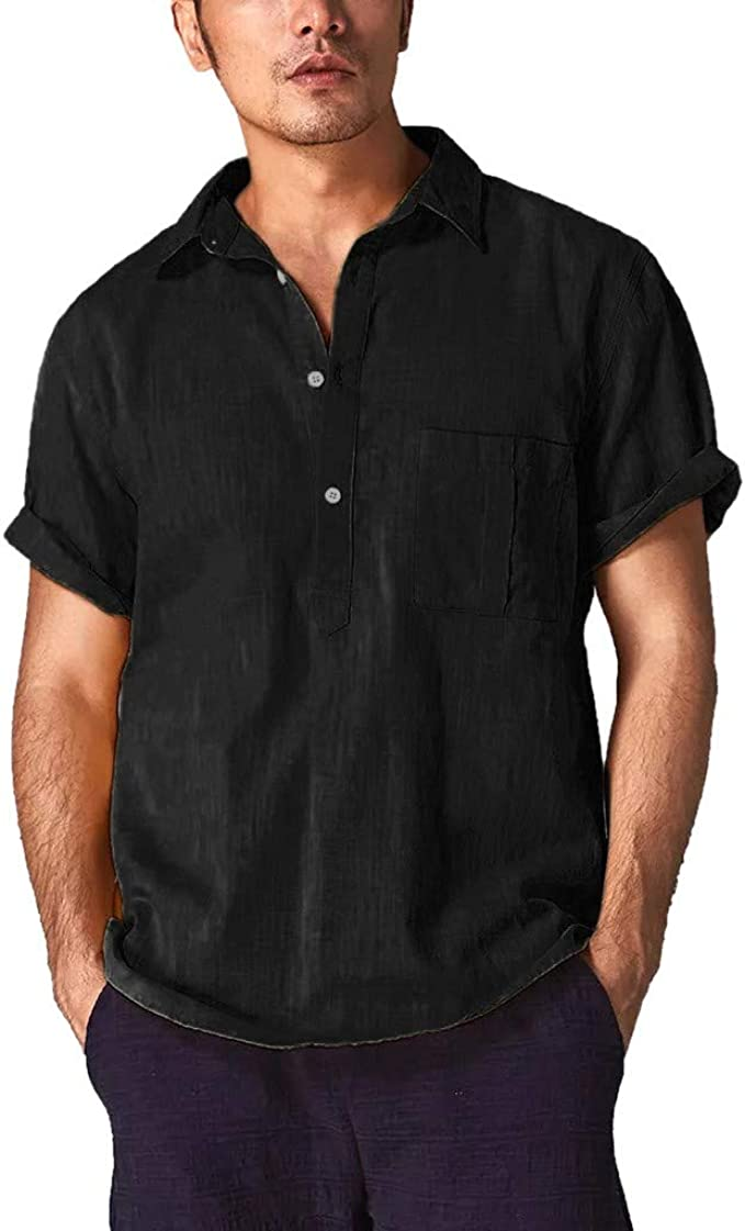 YYear Mens Cotton Linen Button up Short Sleeve Solid Color One Pocket Shirt
