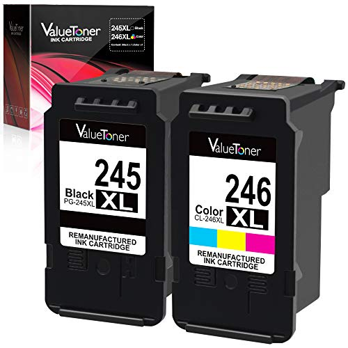Valuetoner Remanufactured Ink Cartridge Replacement for Canon PG-245XL CL-246XL PG-243 CL-244 to use with Pixma MX492 MX490 MG2420 MG2520 MG2522 MG2920 MG2922 MG3022 MG3029 iP2820(1 Black,1 Tri-Color) Canon Replacement Color Ink