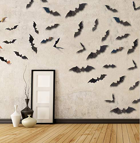 MDCreative Halloween Decorations 3D Scary Bats Wall Stickers Window Decor Art Wall Decals for Halloween Eve Party, 60 Pack -