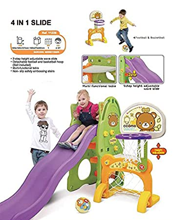 Ricco YAYA Y1223 3-in-1 Adjustable Wave Slide and Swing Kids Toddler Nursery Activity Play Centre with Basketball Hoop