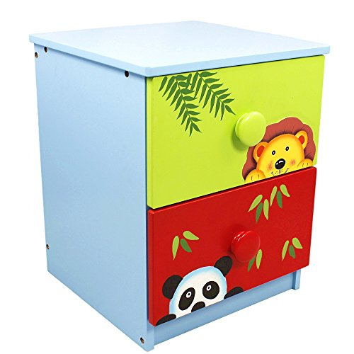 Fantasy Fields - Sunny Safari Animals Thematic 2 Drawer Wooden Cabinet for Kids Storage | Imagination Inspiring Hand Crafted & Painted Details | Non-Toxic, Lead Free Water-based Paint