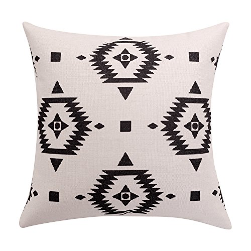 BreezyLife Aztec Throw Pillow Covers Black and White Decorative Pillow Cases Linen Square Cushion Covers for Sofa Couch Farmhouse Outdoor 20x20 inches(White)