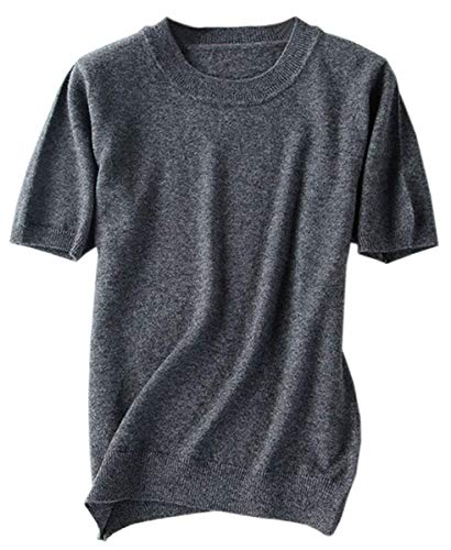 Women's Short Sleeves Knitted Cashmere Sweater Tops T Shirt Blouse, Dark Grey, Tag L = US - Sleeve Cashmere Tee Short
