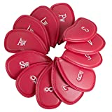 vinmax A Set of 12Pcs PU Leather Golf Iron Head Covers Golf Club Headcovers Sleeve Protective Case Red