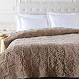 Diva At Home Sandy Brown Infinite Indian Floral Paradise Patterned Cotton Twin Quilt
