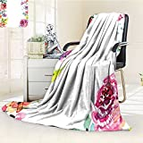 YOYI-HOME Duplex Printed Blanket Custom Design Cozy Fleece Blanket Frame with Summer Flowers Roses Natural Picture Pink Navy Blue Purple White Perfect for Couch Sofa/W47 x H69