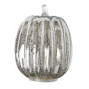 Mercury Glass Lighted Pumpkin with Timer for Fall Décor, Christmas gift, Silver, 7.5 inches