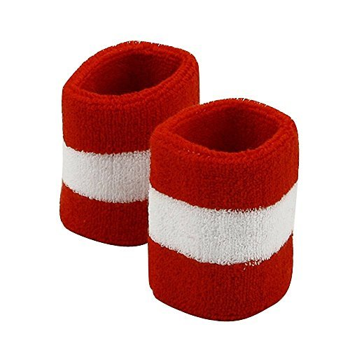Striped Cotton Terry Cloth Moisture Wicking Wrist Band RED-WT One Size