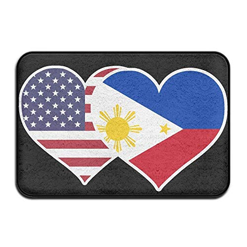 American Philippines Flag Heart Non-Slip Floor Mat 60cm X 40