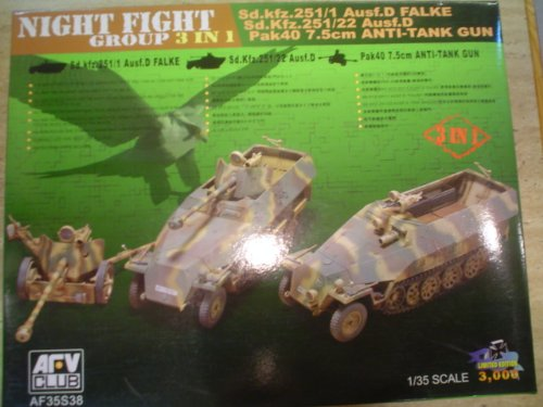 (Night Fight Group SdKfz 251/1 Falke & 251/22 Ausf D's & Pak 40 7.5cm Gun (3 in 1 Kit) 1-35 AFV Club)