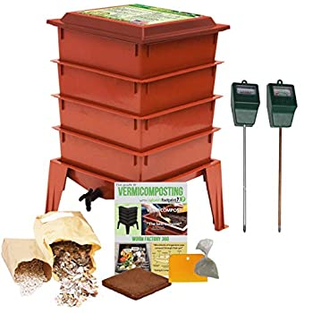 Image of Worm Factory 360 Composting Bin + Moisture and pH Testing Meter Worm Farm Kit (Terracotta) Home and Kitchen