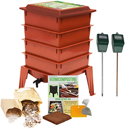 Worm Factory 360 Composting Bin + Moisture and pH Testing Meter Worm Farm Kit - Cotta Design Worm Terra