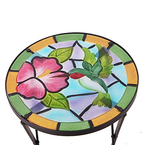 Adeco Round Side Table Plant Stand Flower Holder Accents Serving Snack Tea, Embossed Artistic Pattern Glass Top, Foldable, Colorful