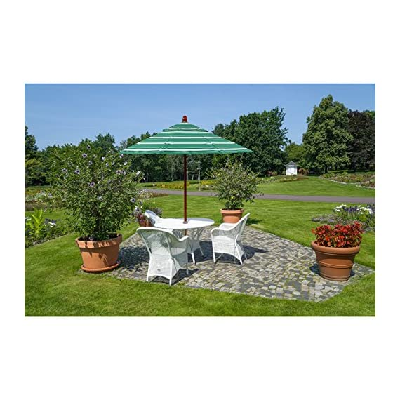 California Umbrella Hardwood Pole/Ribs/Hub, Stainless Steel Push Open -  - shades-parasols, patio-furniture, patio - 51djDDt8nyL. SS570  -