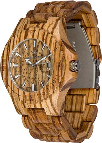 Wooden Watch For Men Women Maui Kool Lahaina Collection Zebrawood Analog Wood Watch Bamboo Gift Box
