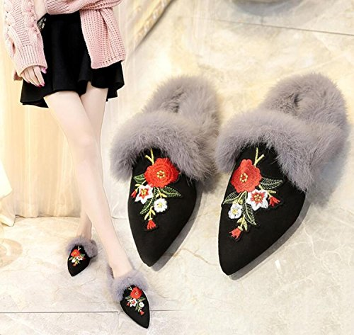 Plush Embroidered New Outdoor Flops Flip Pointed Women Slippers DANDANJIE With Heels amp; Low Shoes Autumn Slippers fX1EHqXx
