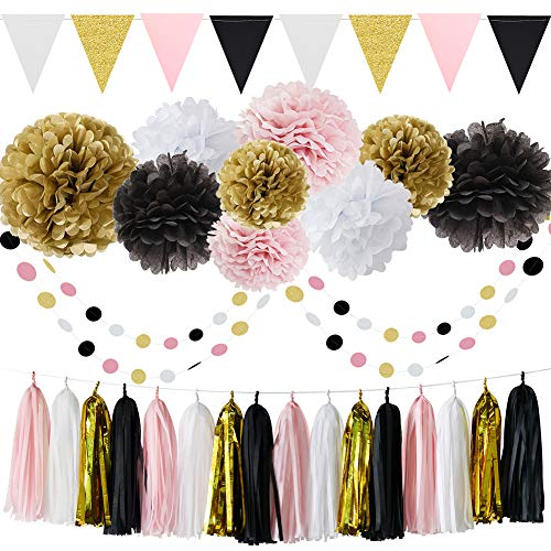 French/Paris Theme Birthday Decorations Party Decorations Birthday Parisian Baby Shower Decorations 35pcs Black Pink White Gold Tissue Paper Pom Pom Paper Tassel Garland Circle Garland Triangle Banner ()