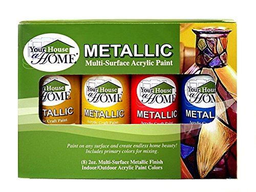 Metallic Multi-Surface Acrylic Craft Paint Set of 8, Great for Indoor/Outdoor use and Great for All Surfaces Including Paper, Canvas, Wood, Metal, Plaster, Plastic, Fabric, Glass, and Ceramics! ()
