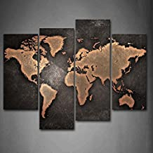 First Wall Art - General World Map Black Background Wall Art Painting Pictures Print On Canvas Art The Picture For Home Modern Decoration
