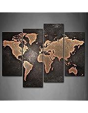 General Mundo Mapa Negro FondoPintura de la Pintura de la Pared La impresión de la Imagen en la Lona Art Fotos de la Obra para la Decoración Moderna del Ministerio del Interior