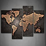 4 Panel General World Map Black Background Wall Art Painting Pictures Print On