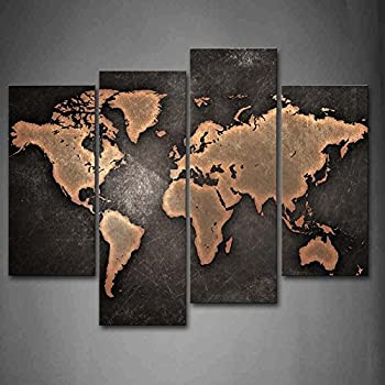 Firstwallart General World Map Black Background Wall Art Painting Pictures  Print On Canvas Art The Picture