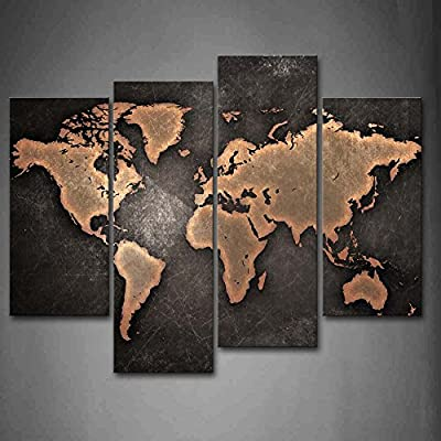 General World Map Black Background Wall Art Painting Pictures Print On Canvas Art The Picture for Home Modern Decoration - Size:12x26inchx2panel, 12x35inchx2panel, all 4 panels. Giclee artwork, picture photo printed on high quality canvas. Gallery wrapped and stretched over 0.75 '' wood frame. Ready to hang on the wall, each panel has a black hook mounted on back. - wall-art, living-room-decor, living-room - 51djDuK2IpL. SS400  -