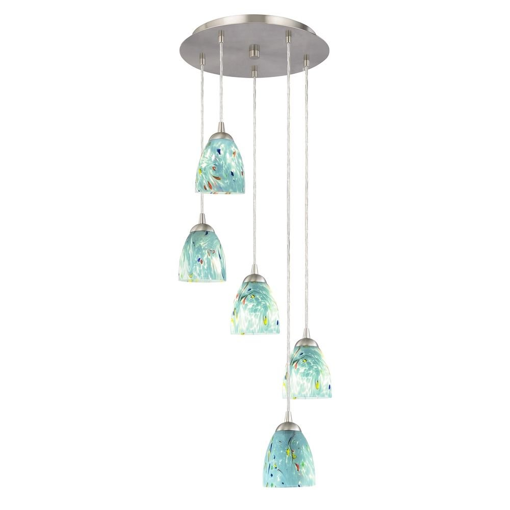 Multi light pendant with turquoise art glass and five lights multi light pendant with turquoise art glass and five lights ceiling pendant fixtures amazon mozeypictures Images