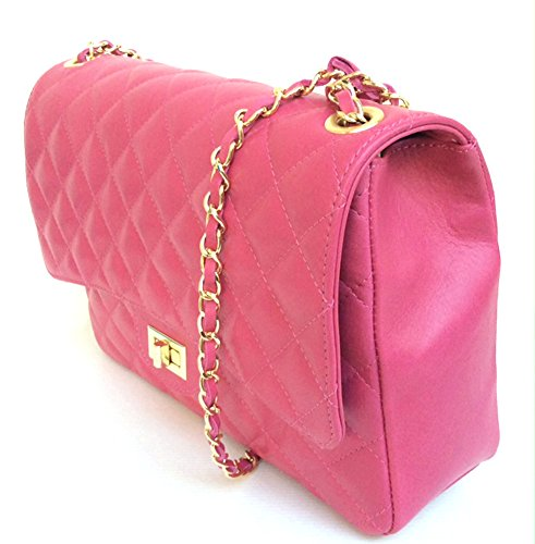 spalla in pelle Parigi trapuntata a fucsia modello Italy in vera Borsa XL Made Superflybags q4BxcwEP1n