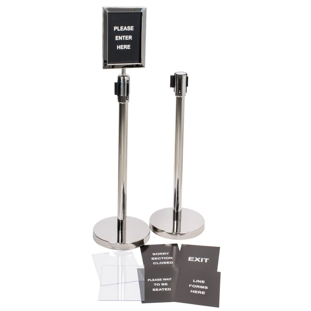 Silver 36'' Crowd Control / Guidance Stanchion Kit including Frame & Sign Set with Clear Covers By TableTop King