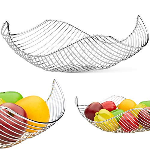 Vistella Fruit Bowl Basket in Chrome Silver - 5 Colors Available - Stainless Steel Wire Design with a Modern Decorative Style - Great Countertop Centerpiece ()