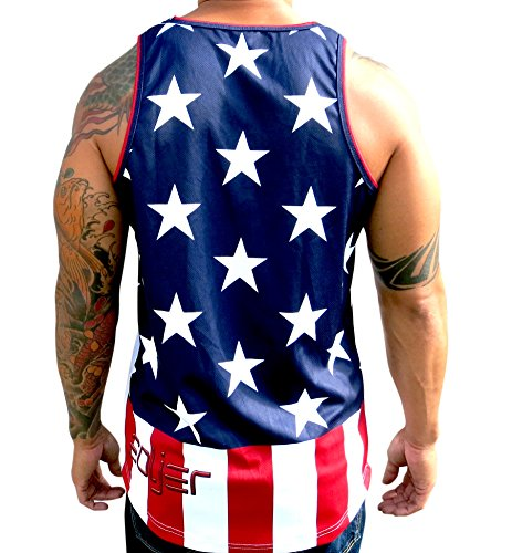 Polyester Mesh 100% - #50 American Flag 100% Polyester Mesh Jersey Tank Top (Red/White/Blue, Large)