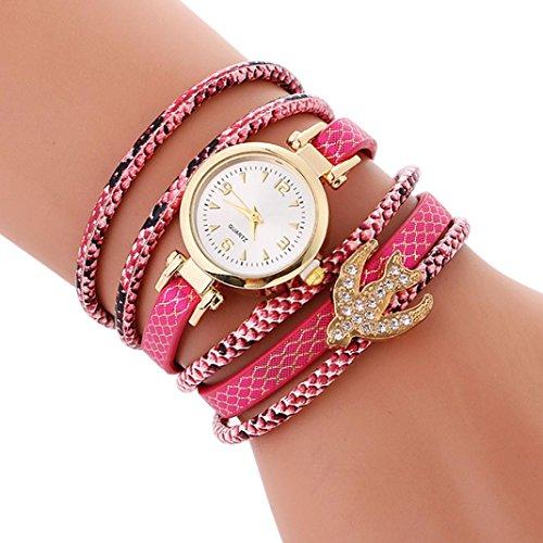 (AutumnFall New Design Women Ladies Bracelet Diamond Circle Quartz Wrist Watch Student Fashion Table (Hot Pink))