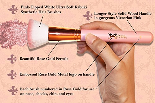 MASQUERADE Gilded Rose ROSE GOLD 10 pc Professional Kabuki Makeup Brush Set - Pink Tip White Vegan Synthetic Hair - Victorian Pink Numbered Long Handle Makeup Brushes with Matching Cylinder Case