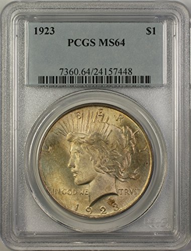 1923 Peace Silver Dollar Coin (ABR15-B) Toned $1 MS-64 PCGS