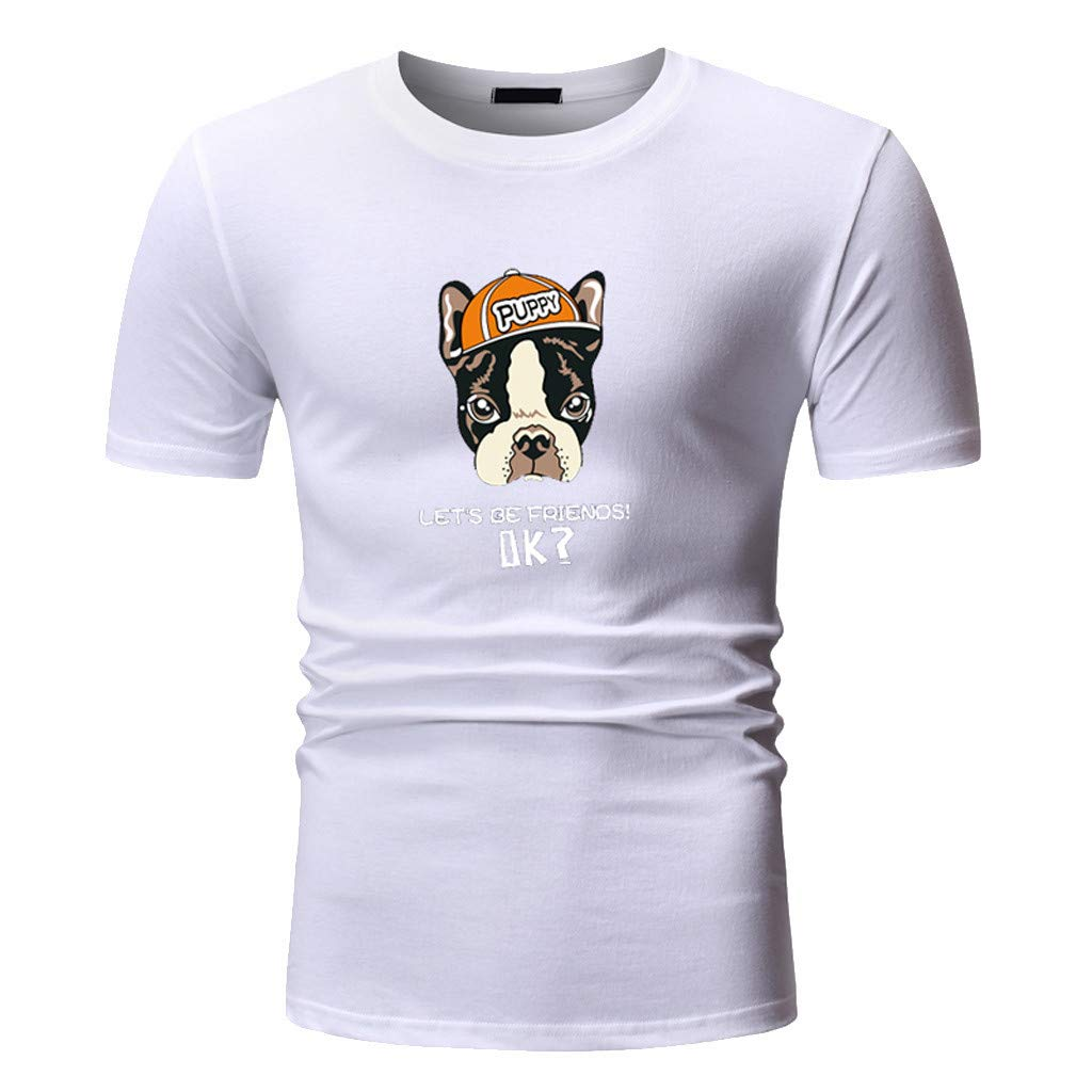 4Clovers Mens Tshirt Cotton Stylish Pattern Short Sleeve Loose Soft Tee Tops
