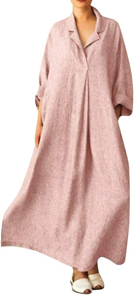 Nmch/_Women Clothes Women Plus Size Cotton Linen Maxi Dress T Shirt Collar Long Sleeve Solid Casual Dress Nmch