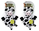 Hear Doggy Flatties with Chew Guard Technology Dog Toy, Cow (2 PACK)