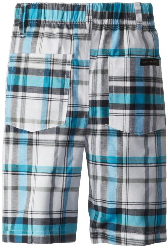 Calvin Klein Boys 2-7 Aqua V-Neck Tee with Plaided Short