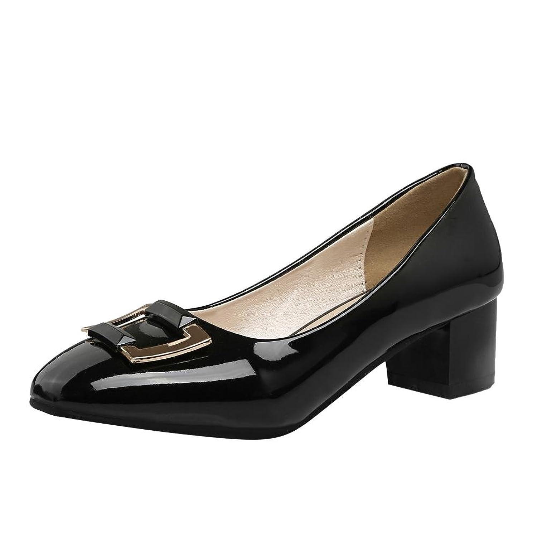 Show Shine Women's Elegant Square Toe Chunky Heel Pumps Dress Shoes