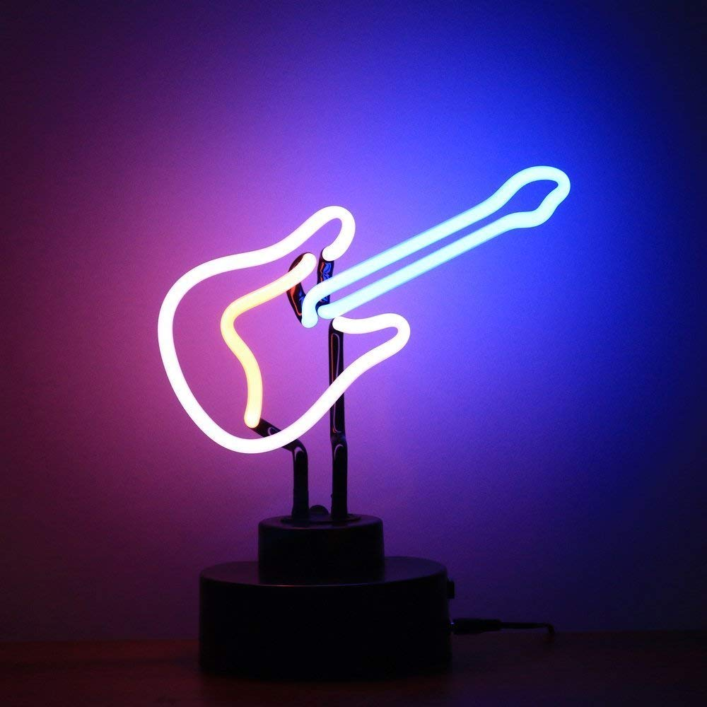 Half Real Glass Neon Sculpture Coffee Neon Light Neon Lamp Neon Sign LED Table Lamp Xmas Home Love Brithday Children Kids Decor Toy Gift (Guitar)