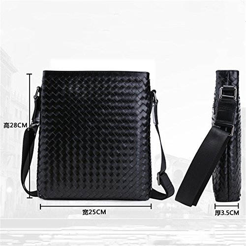 Penao bolsos business los cuero tejido de mano messenger 25cmx3 Black hombro hombres a bolsa de de solo Cabeza todo 5cmx28cm de rPxq0pZr