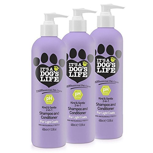 It's A Dog's Life 2 in 1 Deep Cleansing Shampoo and Conditioner for Light Coats 400ml 3 Pack