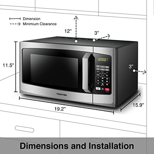 Toshiba EM925A5A-SS Microwave Oven with Sound on/Off Eco Mode and LED Lighting, 0.9 cu. ft, Stainless Steel by Toshiba (Image #3)