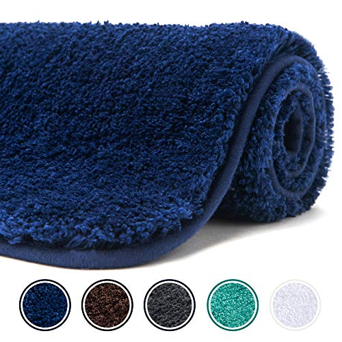 Poymecy Bathroom Rug Non Slip Soft Water Absorbent Thick Large Shaggy Floor Mats,Machine Washable,Bath Mat (Navy,59×20 Inches)